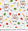 Chef cute cartoon character seamless pattern on 54574412