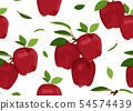 Apple seamless pattern with leaves on a white 54574439