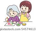 색을 즐기는 노인 여성과 간병인의 여성 54574613