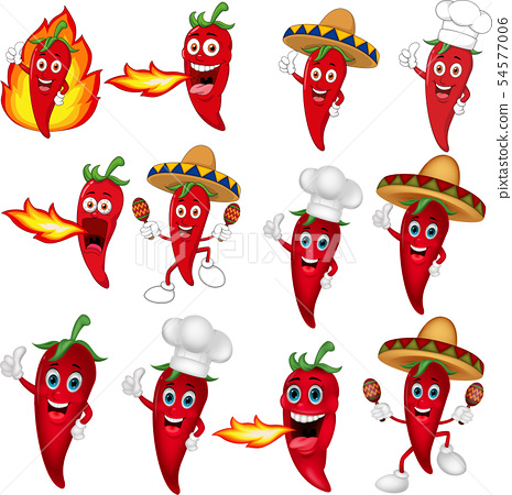 Set of red chili peppers cartoon 54577006