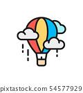 Vector air balloon, aerostat, dirigible flat color line icon. 54577929