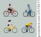 man and woman riding a bicycle vector set 54578477