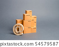 stack of cardboard boxes and email symbol 54579587