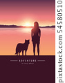 girl and dog silhouette by the lake with mountain landscape at sunset adventure design 54580510