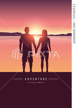 couple silhouette by the lake with mountain landscape at sunset adventure design 54580523
