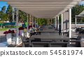 Tables standing in a row at the recreation and sports. Luxury resort. 54581974