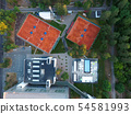 Aerial view tennis courts. Concept of recreation and leisure outdoors. Luxury resort. 54581993