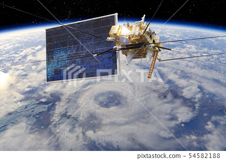 Modern meteorological satellite at the Earth orbit 54582188