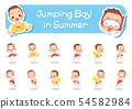 เด็กชายสวมชุดว่ายน้ำเพื่อกระโดดและกระโดด pose ชุดท่าทางต่าง ๆ 】 54582984