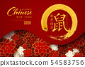 Happy Chinese New Year 2020 red greeting card 54583756