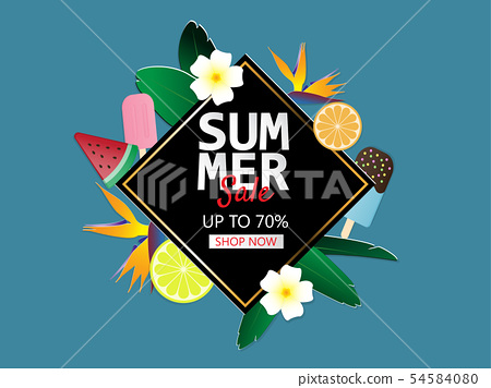 Summer sale banner background in paper cut style. 54584080