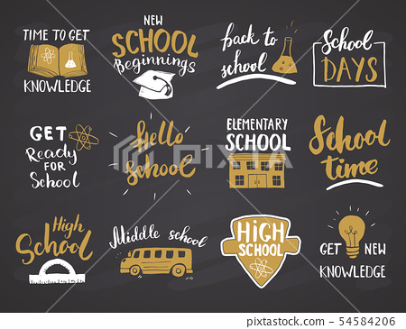 Back to School Calligraphic Letterings Set. Vector 54584206