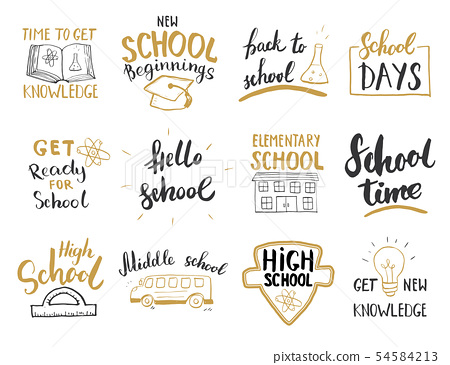 Back to School Calligraphic Letterings Set. Vector 54584213