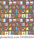Themed kids creativity creation seamless pattern background flat style with artistic objects for 54585604