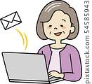 컴퓨터를 조작하는 할머니 (메일) 54585943
