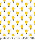 Light bulb Seamless Pattern hand drawn. Vector 54586206