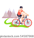 Triathlon man on track bike vector illustration. Young adult man or boy traveling outdoor near the 54587068