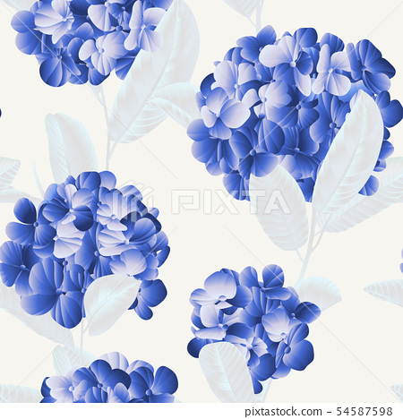 Seamless pattern, blue hydrangea flowers 54587598