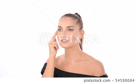 Beauty concept. Women are fondling on her face on 54588084