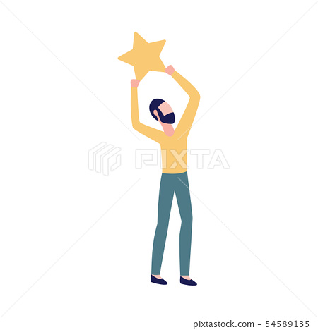 Man holding a star the icon of rating vector illustration isolated on white. 54589135