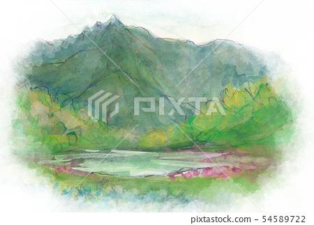 하크 코자 피는 백초 연못 【치고 코마]으로 바란다 荒沢岳 54589722