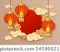 Template with circle and Chinese lanterns and clouds and flowers realistic style 54590021