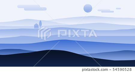 Mountain landscape minimalistic. Rocks hills sand horizon space parallax panorama. Loneliness