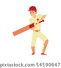 Man in cap and sport uniform stands holding cricket bat cartoon style 54590647