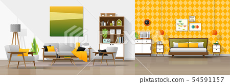 Interior background with living room and bedroom 54591157