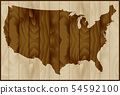 Vector illustration of USA map on wood background 54592100