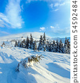 Morning winter mountain landscape, Carpathian 54592484