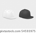 Vector 3d Realistic Render White and Black Blank Baseball Cap Icon Set Closeup Isolated on 54593975