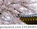 Sakura flowers or cherry blossom with roof of 54594065