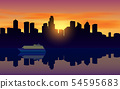landscape of city at the river in sunset 54595683