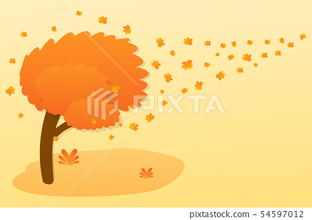Autumn background with a tree and golden leaves. 54597012