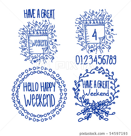 Vector hand lettering set of the days of the week 54597193