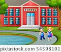 Children walking and leaving school after classes 54598101