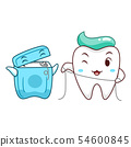 Cartoon tooth cleaning itself with dental floss. 54600845