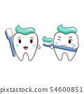 Cartoon Illustration of tooth holding toothbrush. 54600851
