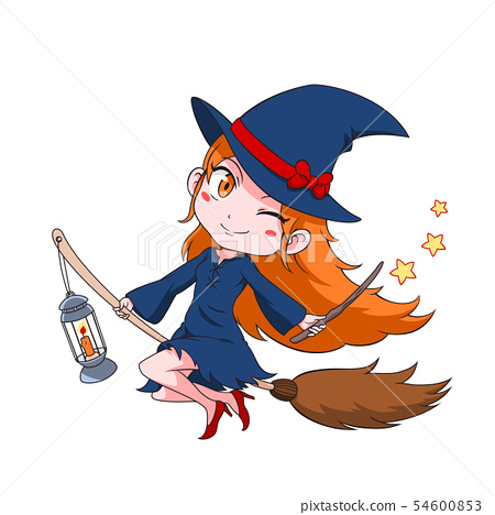 Cute cartoon witch flying on a broom. 54600853