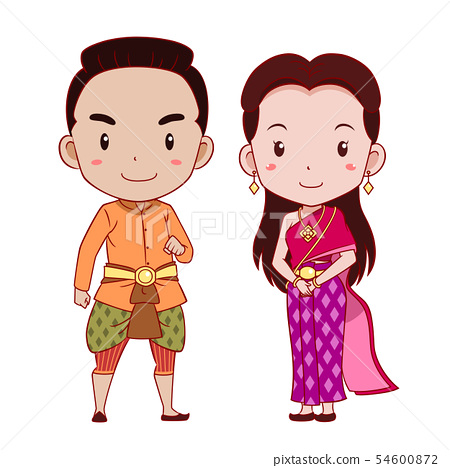 Cute Couple Cartoon In Thai Traditional Costume Stock