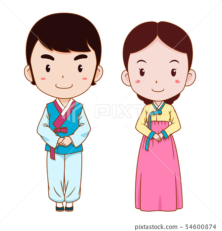 Cute Couple Cartoon In Korean Traditional Costume Stock