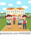 Vector Happy kids on school building background. 54600880