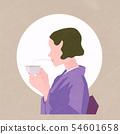 婦女在和服喝茶 54601658