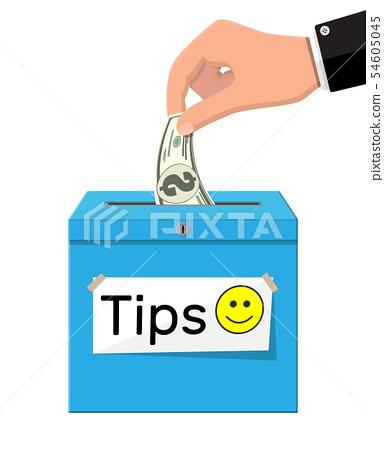 Blue tip box full of cash. 54605045