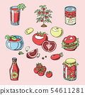 Tomato juicy tomatoes food sauce ketchup soup and paste with fresh red vegetables illustration 54611281