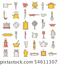 Kitchenware seamless pattern cookware for cooking and kitchen utensils or cutlery for kitchener 54611307