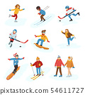 Winter sport activity people games cartoon boys and girls fun cold sportsmen wintertime happy 54611727
