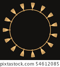 Round frame made with golden chain. On black. Vector illustration 54612085