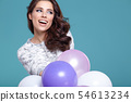 Happy young woman with colorful latex balloons, 54613234